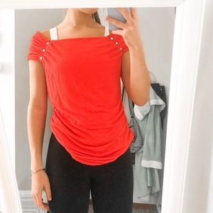 Off the shoulder Red tunic